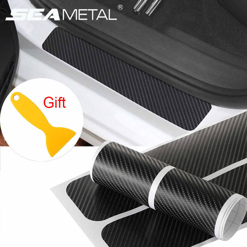 Car Sticker Door Sill Protector Car Styling Carbon Fiber Door Plate Scuff Protection Auto Accessories Door Step Scratch Cover