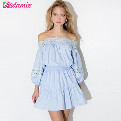 Hot sale summer dress kawaii off shoulder tunic women dresses big sizes long sleeve lace vestidos.jpg 250x250