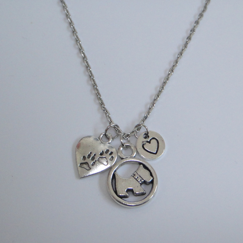 Antique Silver Love My Dog Dog Paw Heart Necklace-Westie Necklace 18 Chain Necklace Pend ...