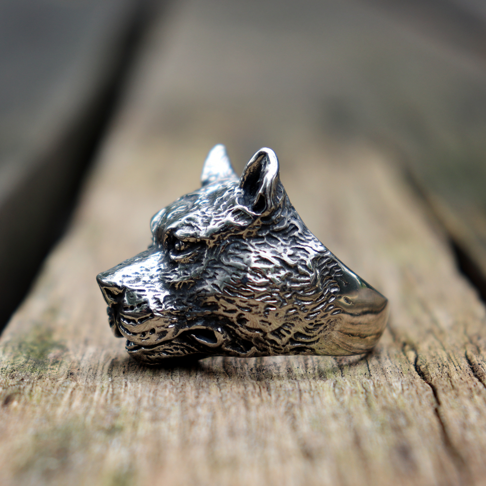 Mens Silver 316L Stainless Steel Animal Rings Strong Muscle Dog Punk Biker Ring Fashion Jewelry in Rings from Jewelry Accessories