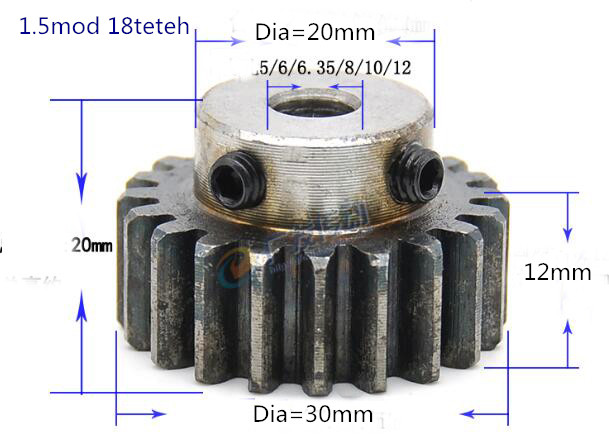 2pcs Spur Gear Pinion 1.5M 18T 1.5 Mod Gear Rack 18 Teeth Bore 5/6/6.35/8/10/12 Mm Spur Gear Precision 45 Steel Cnc Pinion