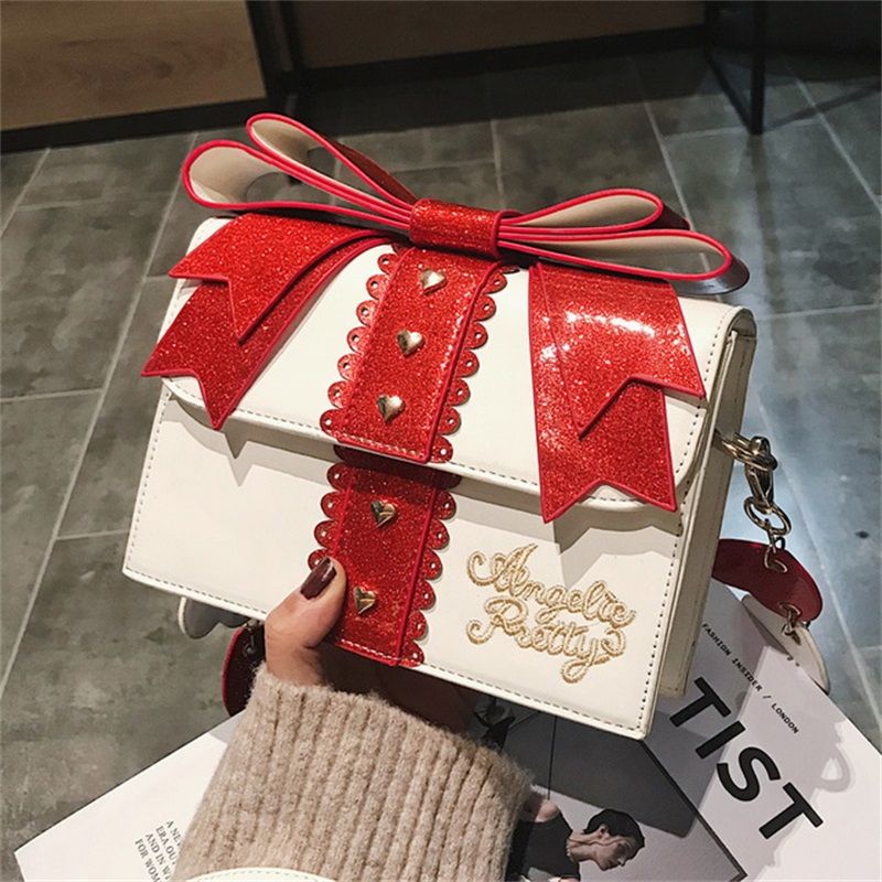 Korean Kawaii Japanese Lolita Girl Cute Heart Bow Girl Sequins Messenger Bag Harajuku Shoulder Bags Chain Bag Fashion