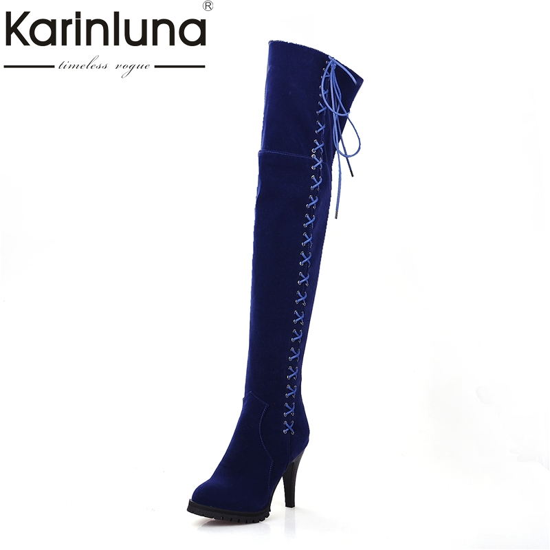 KARINLUNA Large Size 34-45 New Lace Up Over The Knee Boots Women Shoes Woman Sexy Super High Heels Winter Party Boots Black nasipal 2017 new women pu sexy fashion over the knee boots sexy thin high heel boots platform woman shoes big size 34 43 g804