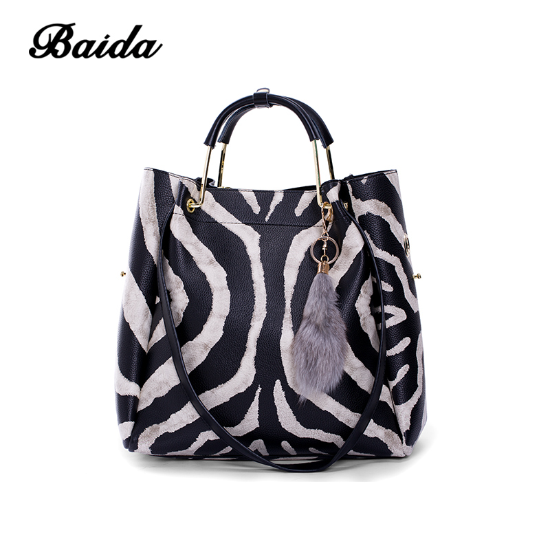 BAIDA brand 2 sets women handbag Zebra pattern casual tote bag female small shoulder bag purse striped bags Crossbody Bag miesati luxury 3 sets handbag women composite bag female large capacity tote bag fashion shoulder crossbody bag small purse