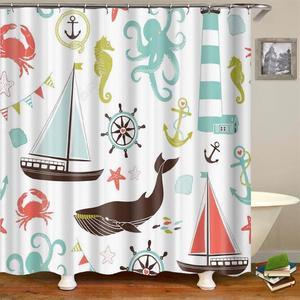 Image 4 - Дети Cartooon Ванная комната Душ шторы модный дизайн сова кактус якорь штора для ванной шторка для ванной