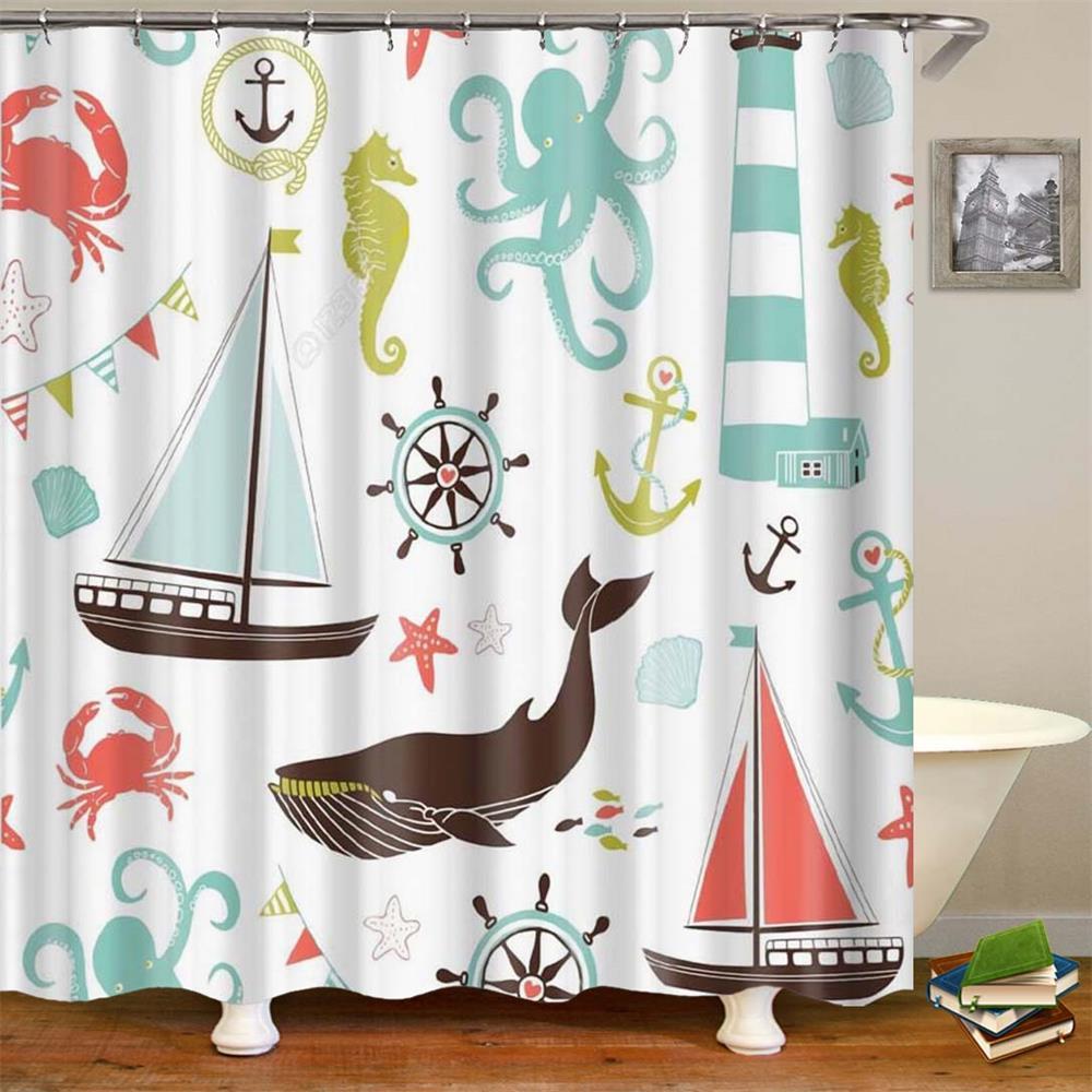 Image 4 - Kids Cartoon Shower Curtain Set Home Decor Owls on a Branch Art Polyester Fabric Bath Curtain with 12 Hooks Shower Curtains-in Shower Curtains from Home & Garden