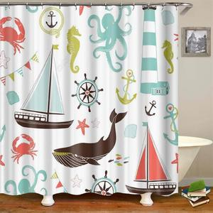 Image 4 - Kids Cartoon Shower Curtain Set Home Decor Owls on a Branch Art Polyester Fabric Bath Curtain with 12 Hooks Shower Curtains