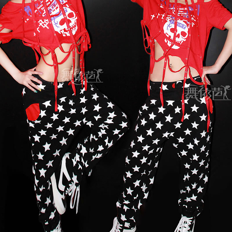 New fashion harem women hip hop pants dance costume pants joggers Trousers Star print loose Casual