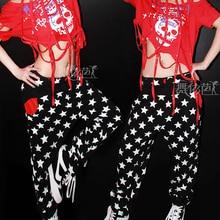 New fashion harem women hip hop pants dance costume pants joggers Trousers Star print loose Casual