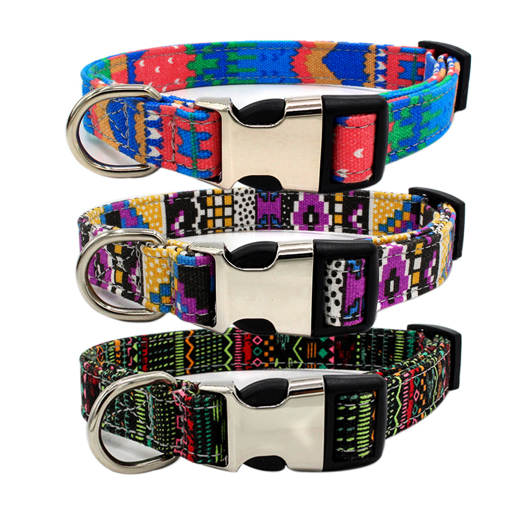 2019 Berry new semi-metal lettering pet collar double fabric bohemian dog products