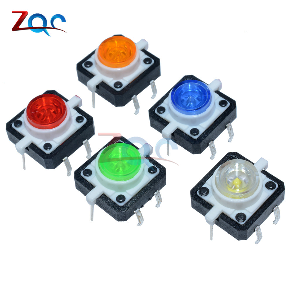5PCS 1 set 12X12X7.3 Tactile Push Button Switch Momentary Tact LED 5 Color 12X12X7.3mm 12*12*7.3mm