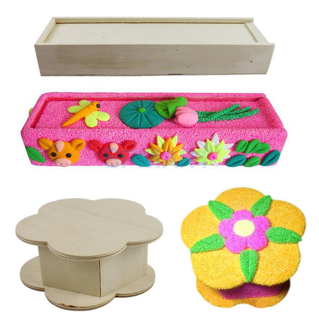Unfinished wood craft boxes - Unfinished Wooden Jewelry Box Pencil Case For Kids Toys Diy Painting Woodcraft China Mainland