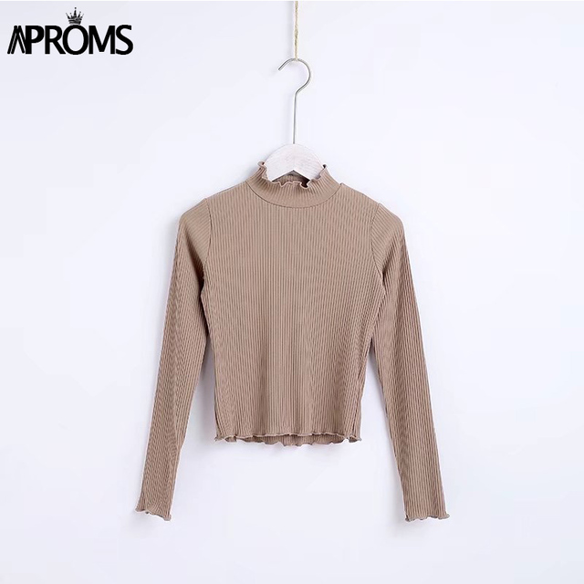 Aproms Women Sweet Knitted Long Sleeve T-Shirt 2018 Knit Tee Casual White Stretch T Shirt Female Fashion Autumn Basic Top