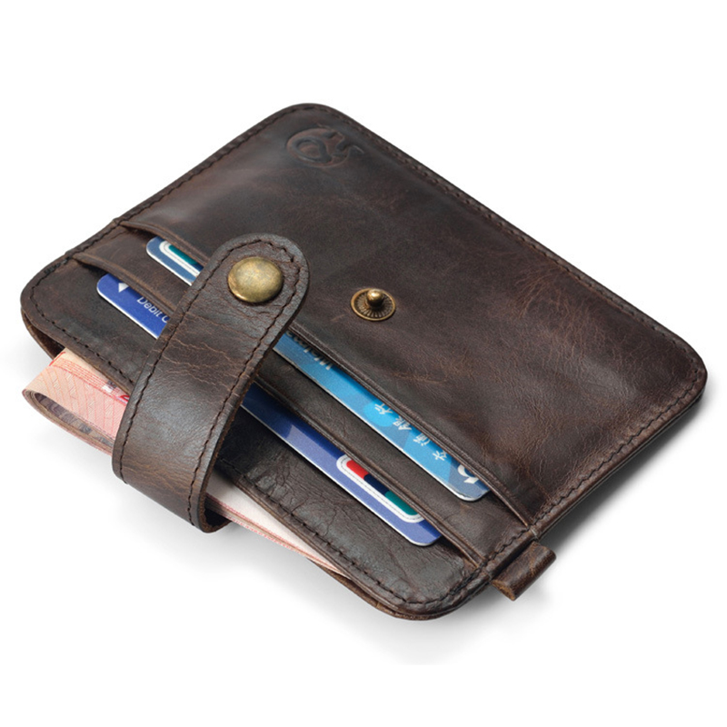 Slim Credit Card Holders Key Ring Genuine Leather Mini Purse Porte - Porte carte credit