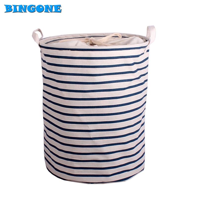 Waterproof Canvas Laundry Hamper Bag Clothes Storage Baskets Home Drawstring Barrel Kids Toy Storage Basket With Handles -FF