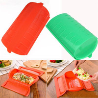 Silicone Food Steamer Lunch Box Healthy Cooking Fish Bowls Baking Tools Microwave Oven Safety Eco Friendly