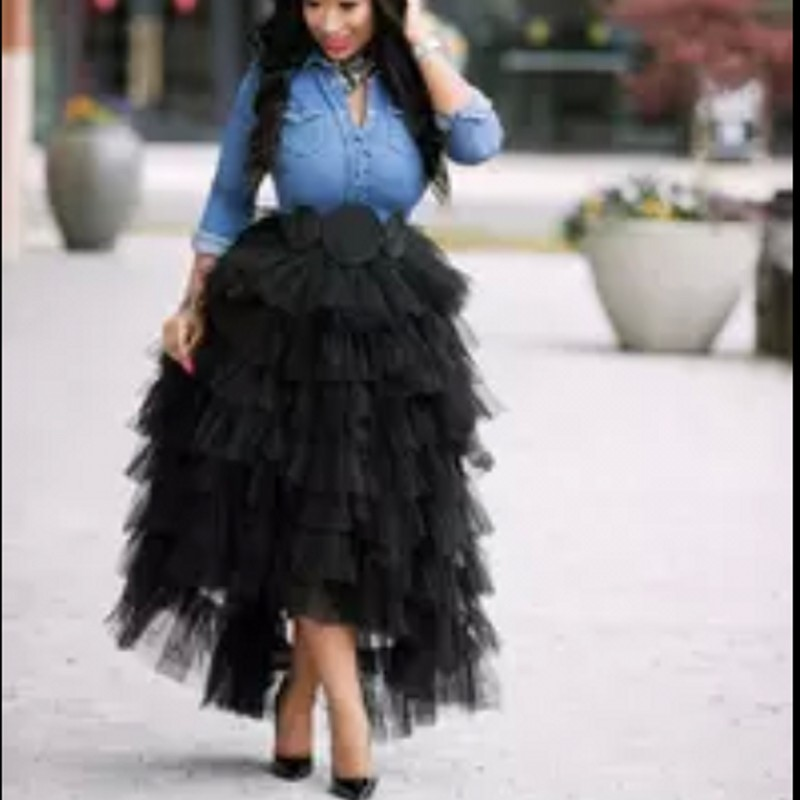 Fashion Black Tiered Ruffles High Low Tulle Skirts For Pretty Women 2017 Faldas Mujer Saias Elastic Custom Made Long Tulle Skirt-in Skirts from Women's Clothing    1
