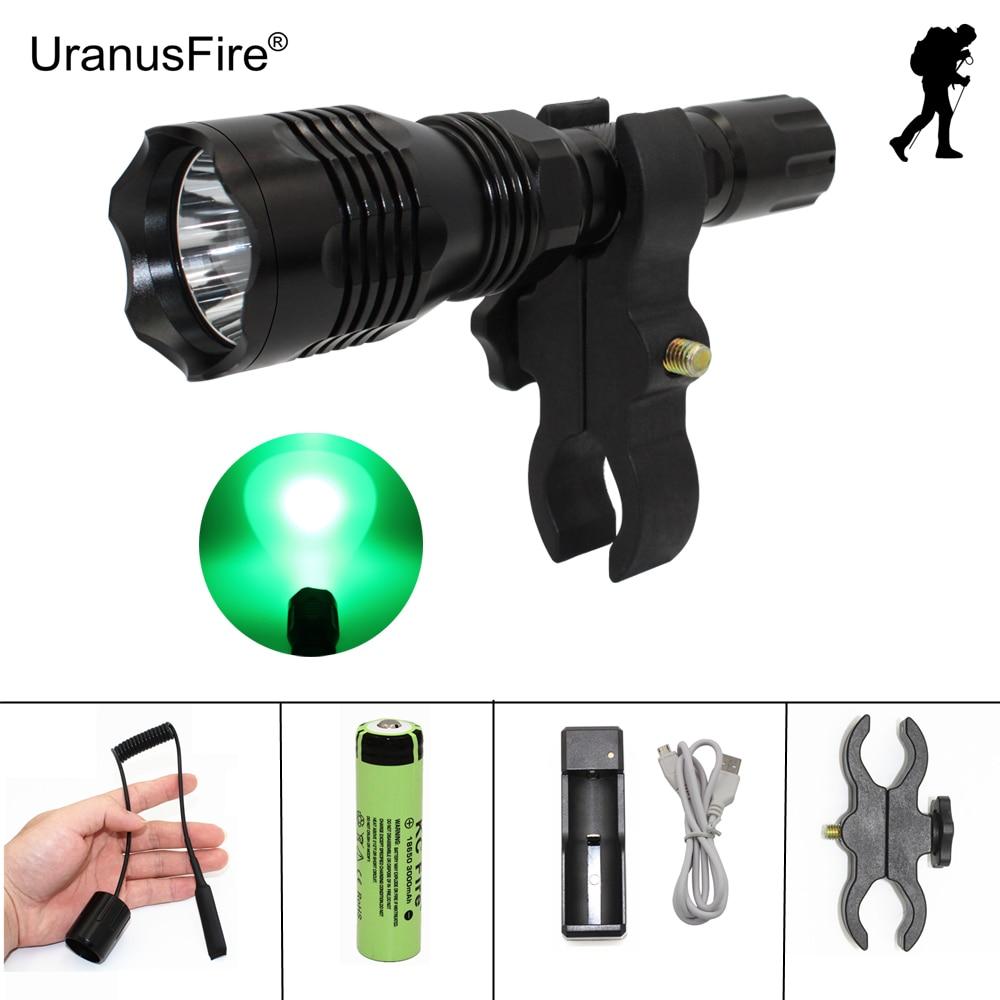 Светодиодный фонарик охота светло-зеленый красный прожектор CREE XP-E R2 350LM с пистолетом Clip + дистанционный переключатель давления + 18650 + зарядн…
