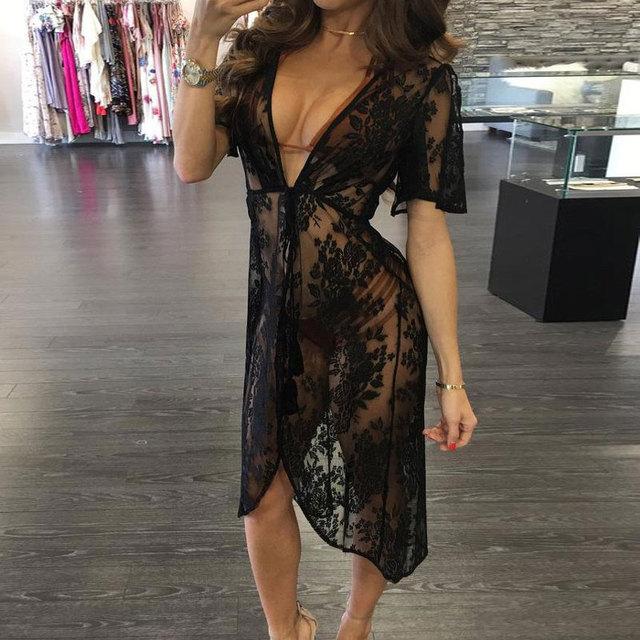 888624e11875 2019 Long Lace Sexy Beach Tunic Cover Up Dress Women Beach Dress Bikini  Cover Up Swimwear