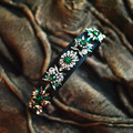 2017 female SHOUROUK DG Imperial family style stars Goddess flower green Crystal Headband Retro Baroque palace Hair Accessories