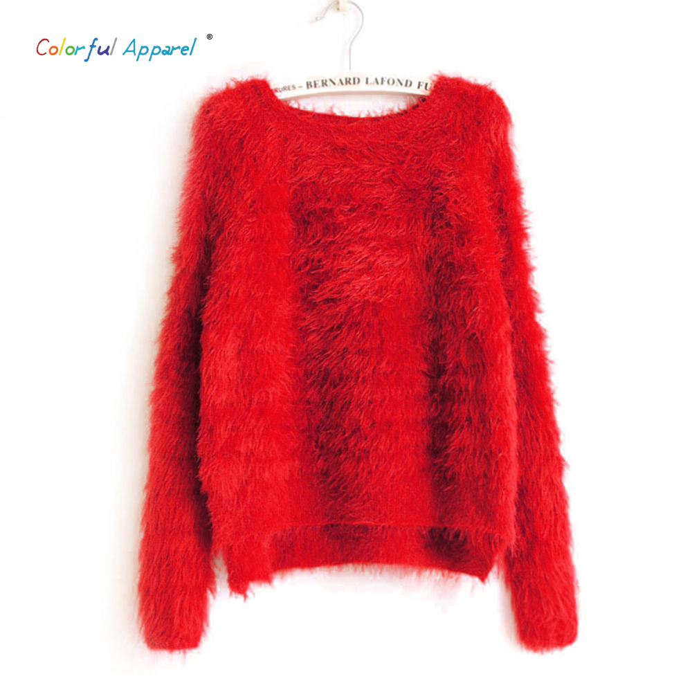 2016 Colorful Apparel Fashion Crew Neck Warm Winter Women's Mohair Sweaters And Pullovers Oversized Knitted Pullovers CA480