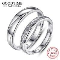 Настоящее Подлинная Серебро 925 кольца для женщин Классический 925 пробы серебро обручальные кольца для пар Свадебные украшения joyas де Плата ...