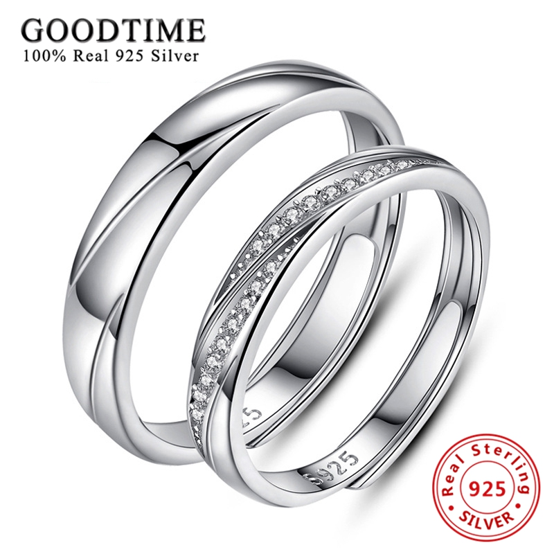 925 Sterling Silver Lovely Heart Beat Adjustable Couple Love Pair Ring R19