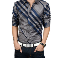 New 2017 Shirts Men Business Casual Striped Long Sleeve Cotton Slim Fit Mens Dress Brand Shirts