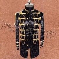 S 4XL Men Stand Collar Jacket Nightclub Rock Singer Sequins Show Long Coat Bar DJ Costume