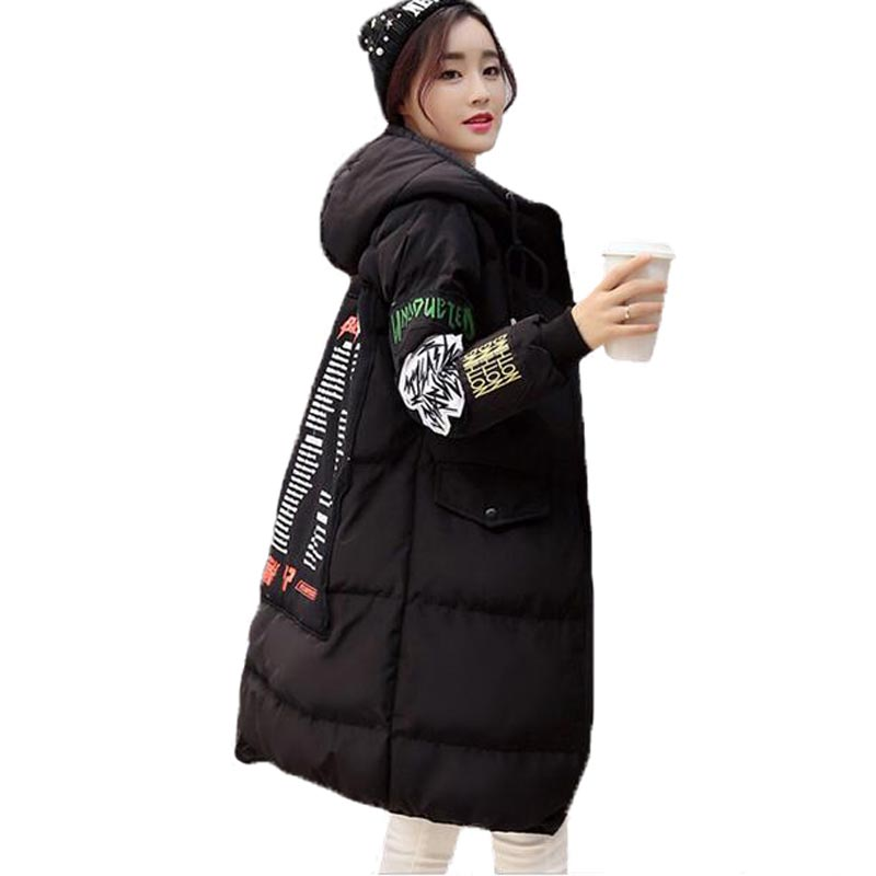 New Female Winter Thick Jacket Plus Size Hooded Long Cotton Padded Coat Fashion Letter Patch Print Overcoat Women PW0228 plus size letter print hooded sweatshirt dress