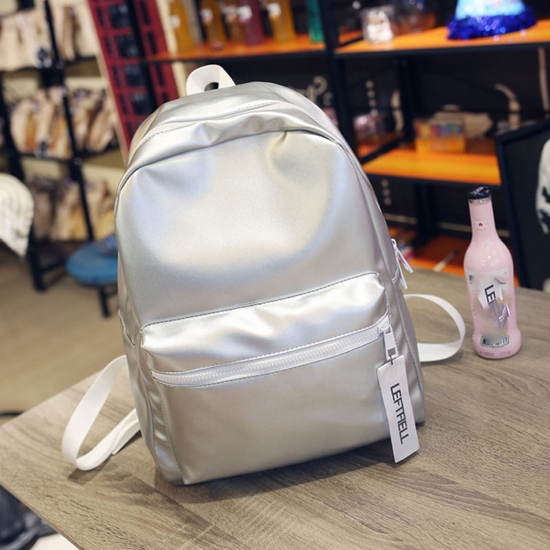 2017 New Arrival Hologram Laser Backpack Girl School Bag Women Pink And White Simple Metallic Silver Laser Holographic Backpack