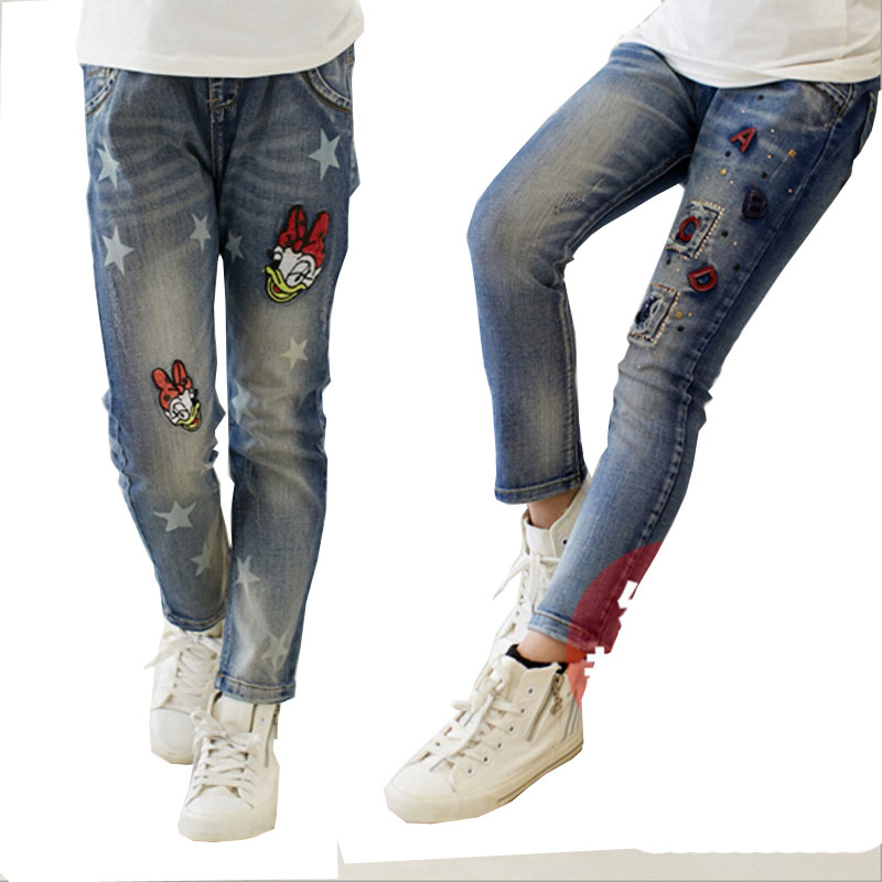 d94923336 Children pants Girls Jeans Youth girls kids trousers embroidery ...