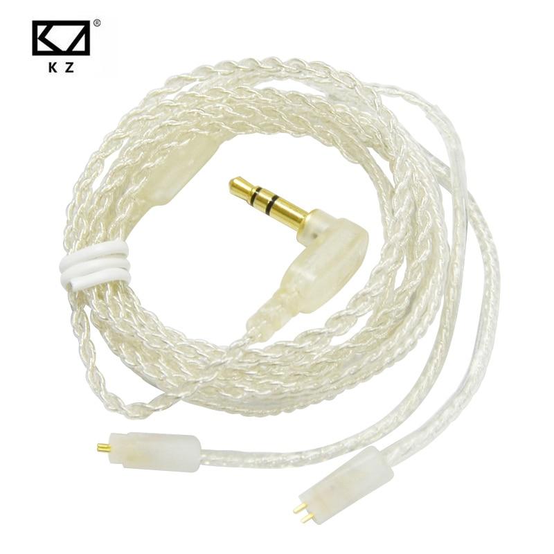 D'origine KZ ZS6 ZS5 ZS3 ZST ED12 ES3 Écouteurs Mis À Jour Plaqué Argent Câble 0.75mm 2Pin HIFI Câble Dédié Remplacement câbles