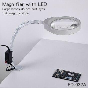 Lupa Grande Con Luz | Aumento Led De Lupa Grande De Soldadura De 3X Para Pantalla De Teléfono Inteligente Móvil Con Clip De Lupa De Mesa