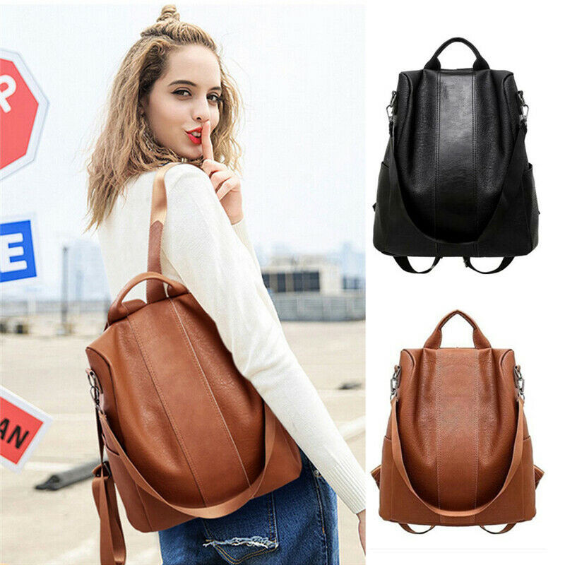 NoEnName Female Anti-theft Backpack Classic PU Leather Solid Color Backpack Canta Fashion Shoulder Bag