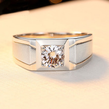 Husband Ring Gift 1CT 6mm 16 Hearts and Arrows Cut Wedding S925 Silver Anniversary Jewelry for Lover Boyfriend