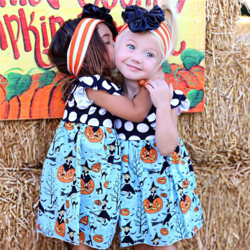 Halloween Clothes Toddler Kids Baby Girl Princess Pumpkin Dot Dress Party Pageant Formal Festival Dresses Lovely Dresses