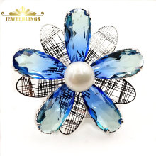Винтаж увядающий цвет воды синий пять лепестков цветок брошь