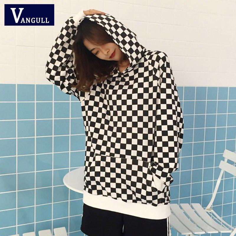 Vangull 2019 Fashion Black White Plaid Loose Long Sleeve Hooded Sweatshirts Women Checkerboard Hoodies Spring Autumn Streetwear