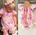 Flor del mono ropa de recién nacido bebé ropa de las muchachas del mameluco floral borla vintage rosa mamelucos del verano del bebé