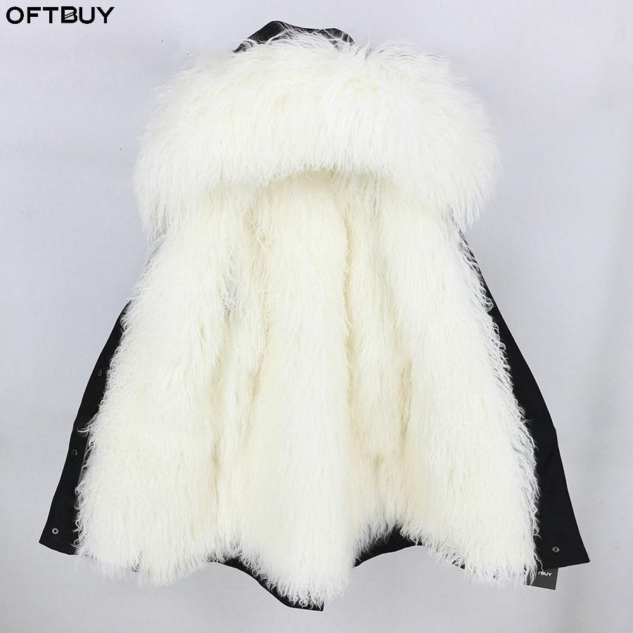2019 Parka Réel Manteau De Fourrure Des Femmes Manteau D'hiver Long Parkas Mongolie Moutons De Fourrure Chaud Épais Survêtement Capot Streetwear De Luxe Marque