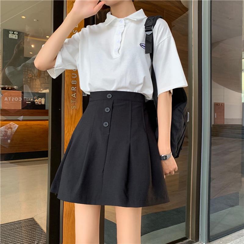 506027d49 Falda corta plisada elegante versátil Color sólido Simple era delgada falda  de línea a de gran ...