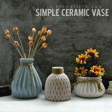Breve taza de cerámica de la vendimia pequeña decoración florero salón derlook secas planta de flor florero blanco