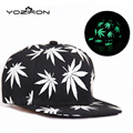 Wholesale & Retail Men Women New Glow In The Dark Print Maple Leaves Snapback Hats Fluorescent Baseball Caps Ship In Carton