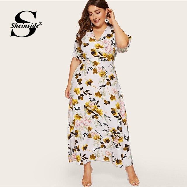 Sheinside Plus Size Boho Floral Print V Neck Dress Women 2019 Summer Flounce Sleeve A Line Dresses Ladies Elegant Maxi Dress 3