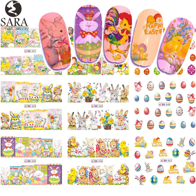 12 Design Water Nail Sticker Easter DIY Cartoon Egg Design Set ...