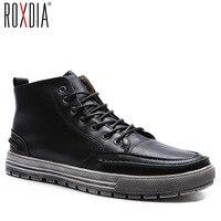 ROXDIA moda erkekler ayak bileği çizmeler kar kış sıcak adam çizme su geçirmez RXM057 mens ayakkabı mikrofiber deri 39-44 için