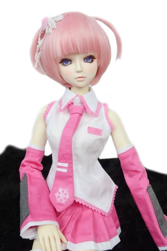 [wamami] Pink&White VOCALOID Uniform Dress/Suit/Outfit 1/3 SD AOD DOD DZ BJD Doll pink lovely rabbit suit aminal outfit for bjd 1 3 dd dy girl doll clothes cw65
