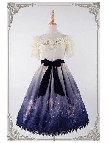 5d0090495462 Hoshikuzu Inifinite Stars Kawaii Girls Lolita OP Dress Beige   Deep Blue  Waist Belt Bubble Sleeve Off Shoulder Cute One Piece
