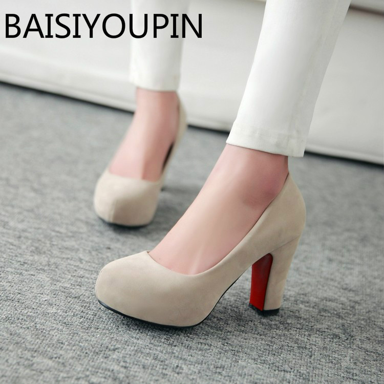 2018 Women Sexy High Heels Shoes Round Head Paltform Shallow Women's Shoes Big Size 42 43 Small Size 32 33 Thick Heel All Match small yards autumn 16 30 31 32 33 plus size 40 41 42 43 genuine leather thick heel single shoes women s high heeled shoes